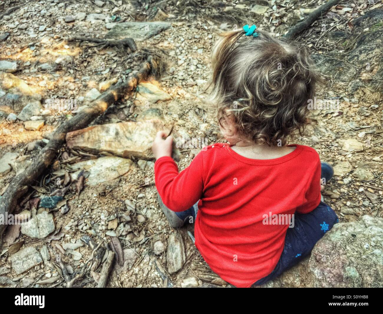 Toddler exploring the nature - Stock Image