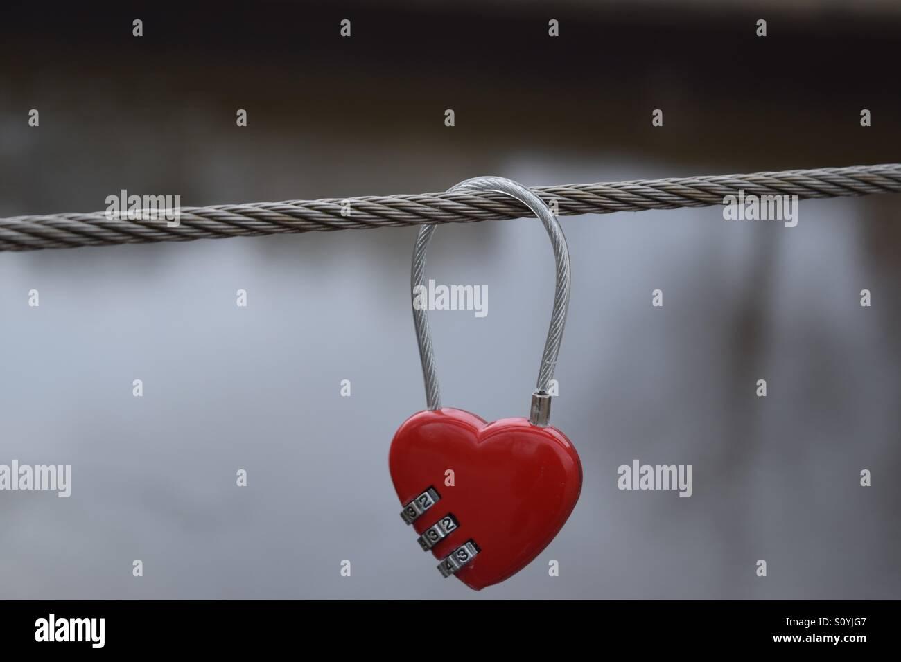 Love Lock Over Bridge - Stock Image