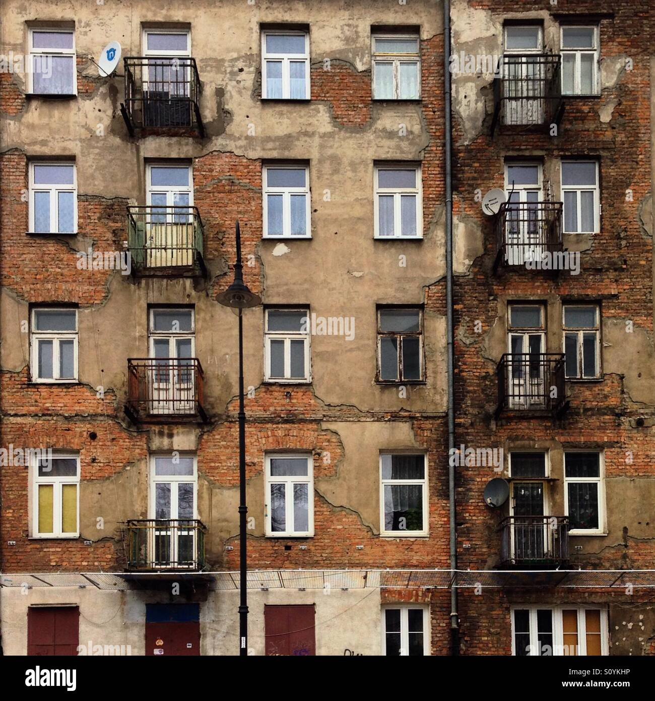 A facade in Praga district of Warsaw - Stock Image