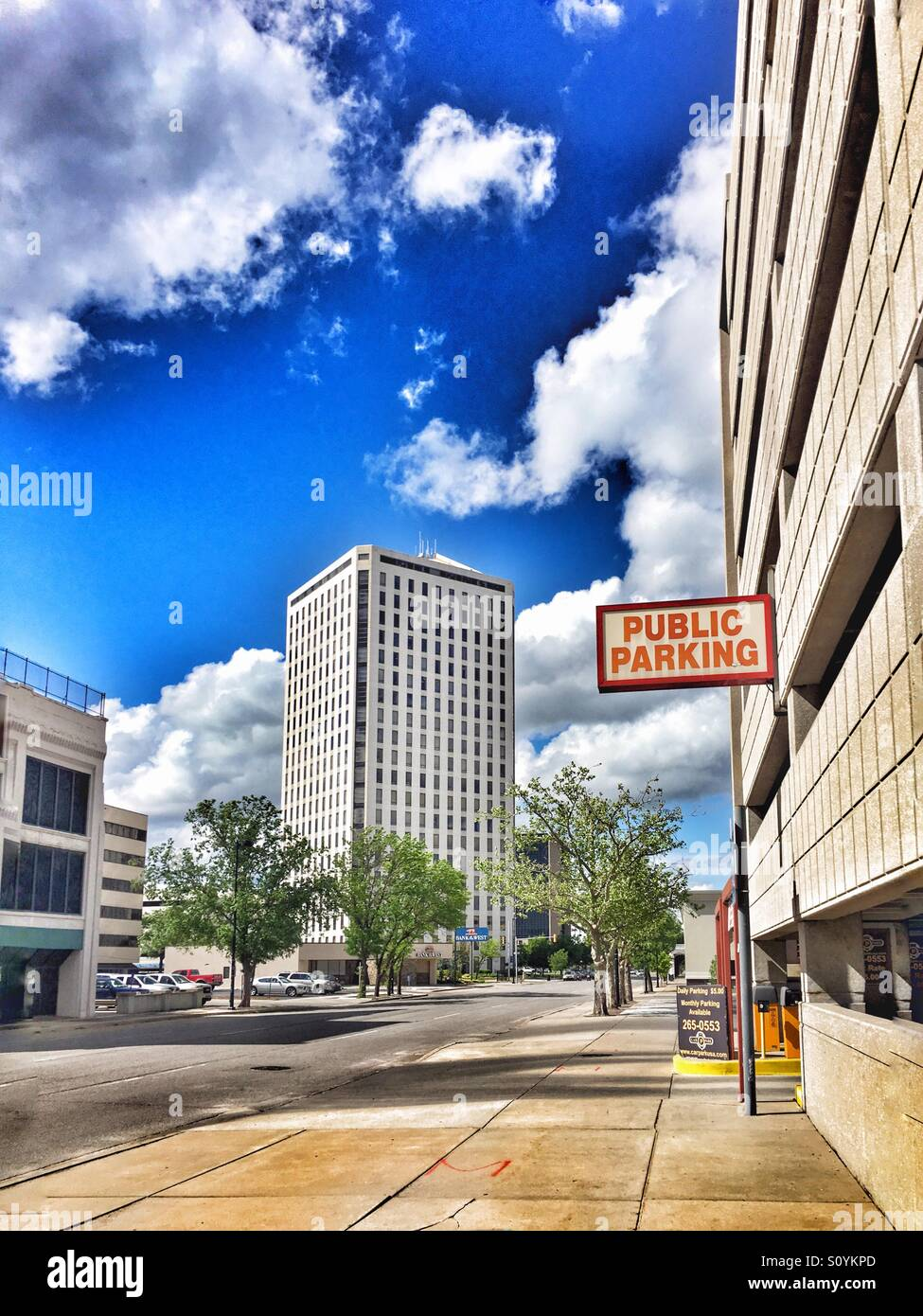 Looking Down Main Street In Wichita Ks At A Parking Garage And The