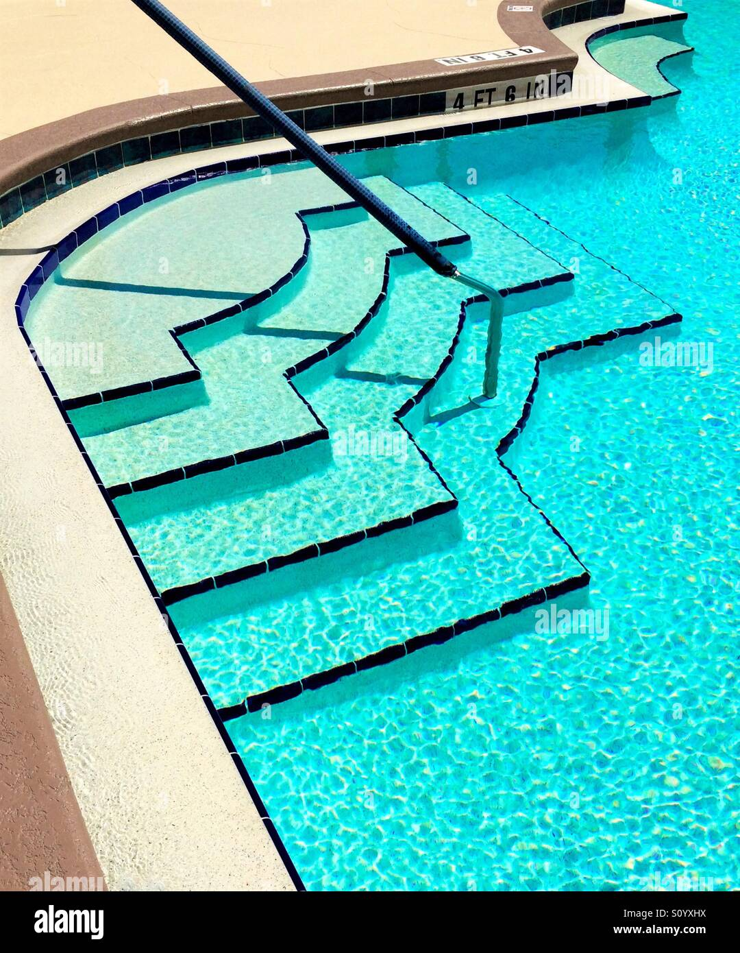 Angular abstract pattern and lines created by pool edges and steps - Stock Image