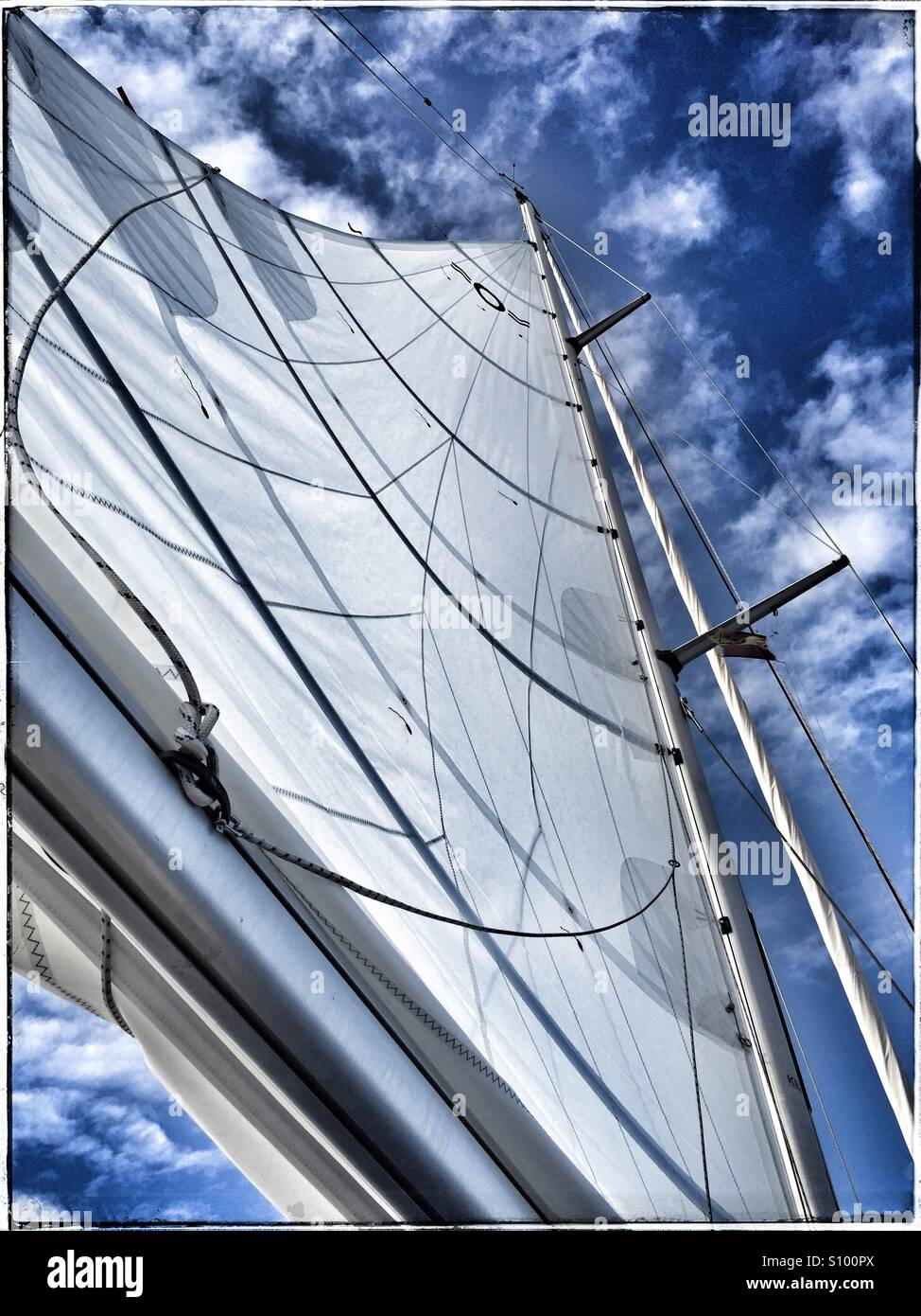 A full mainsail on a sailing yacht in the summer - Stock Image