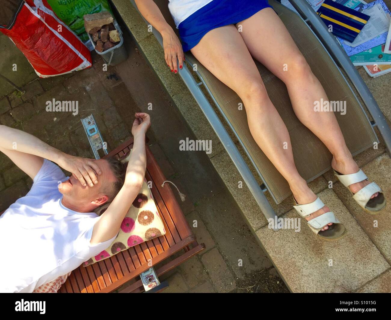 Post-prandial snooze - Stock Image