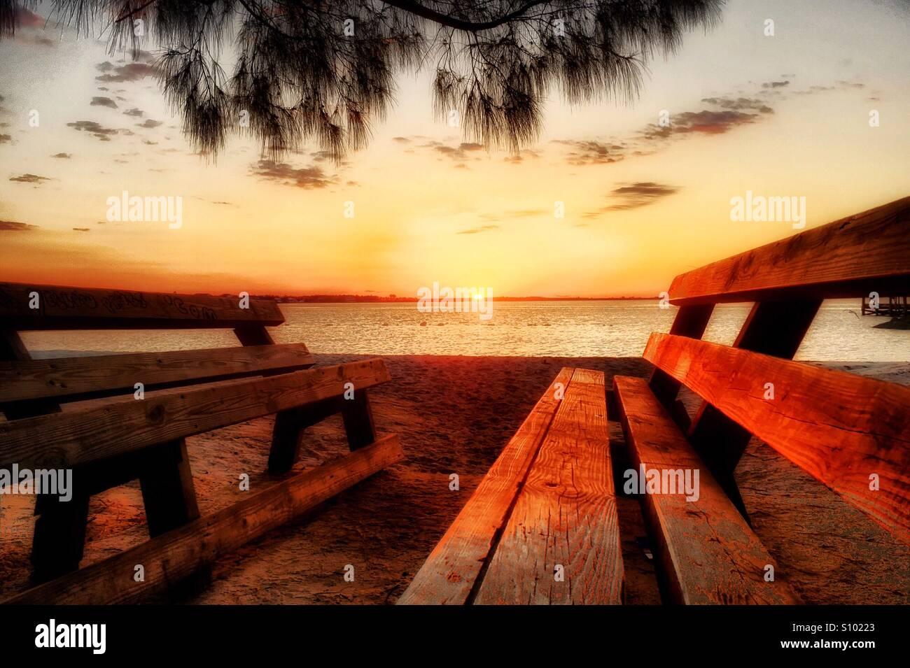 Idyllic spot for enjoying the sunrise. - Stock Image