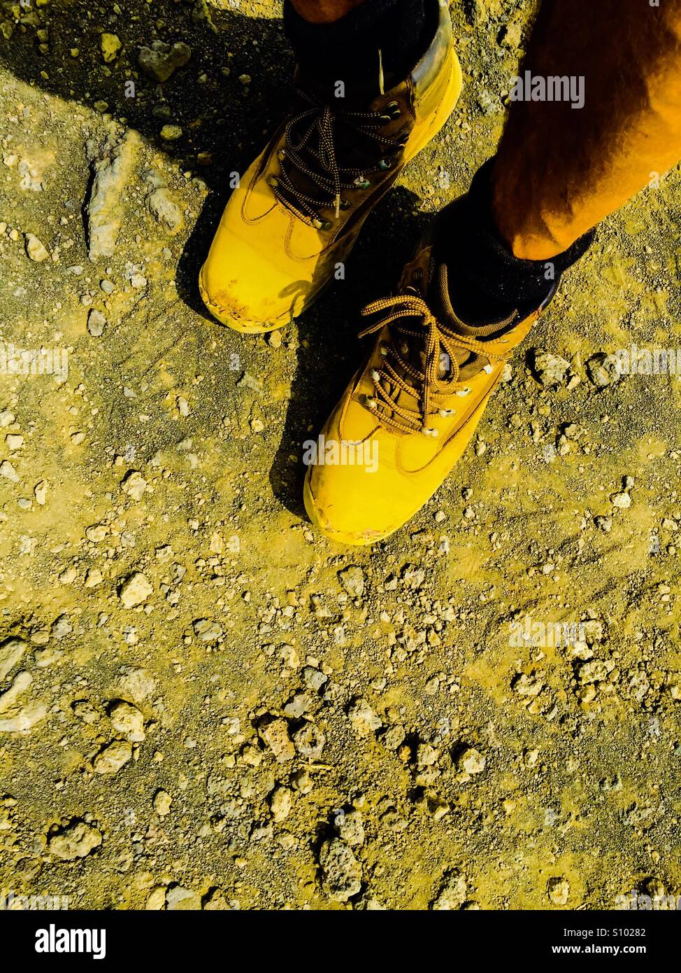 Weary, dusty, hiking.feet - Stock Image