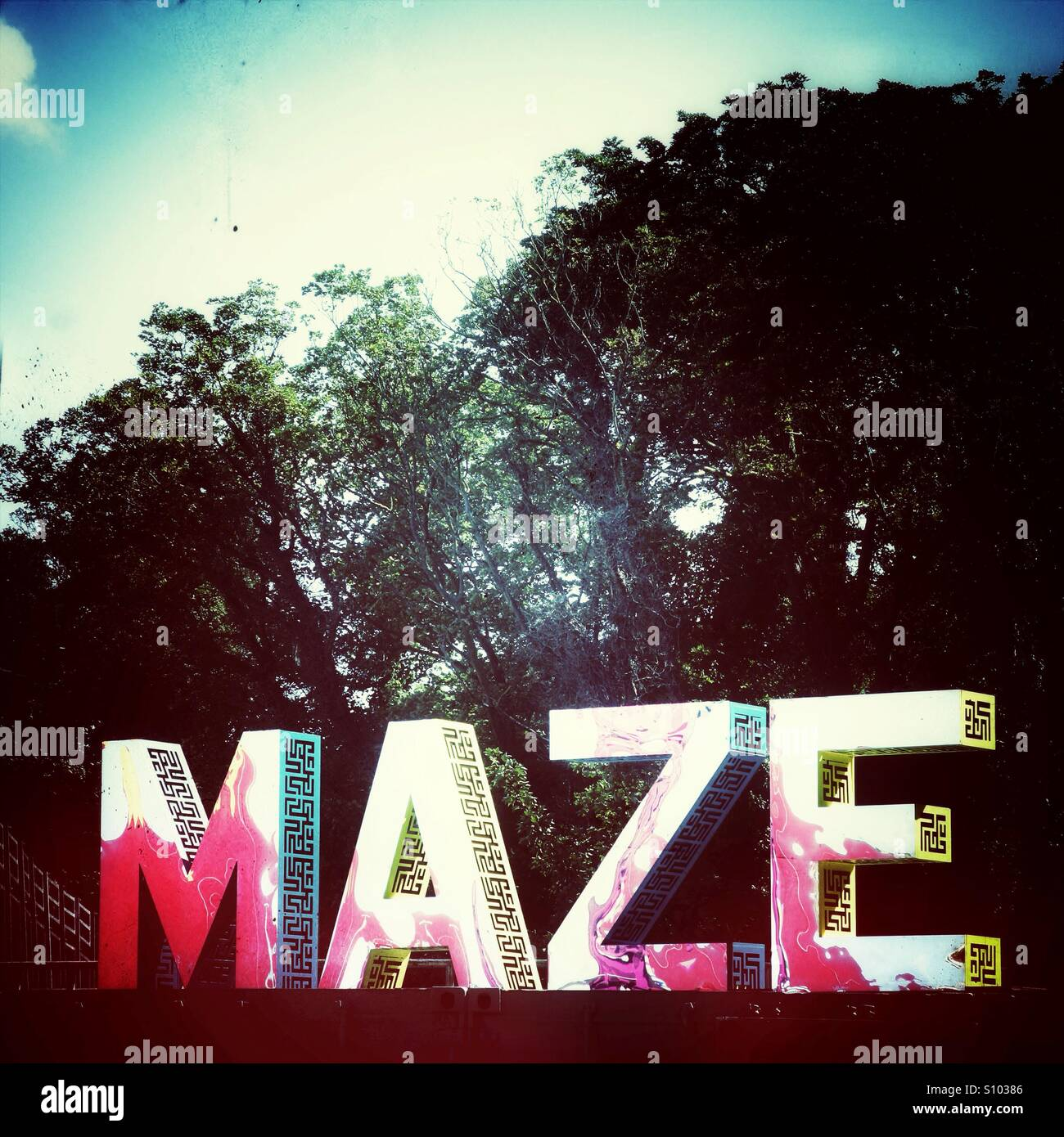 Maze sign drealand margate - Stock Image