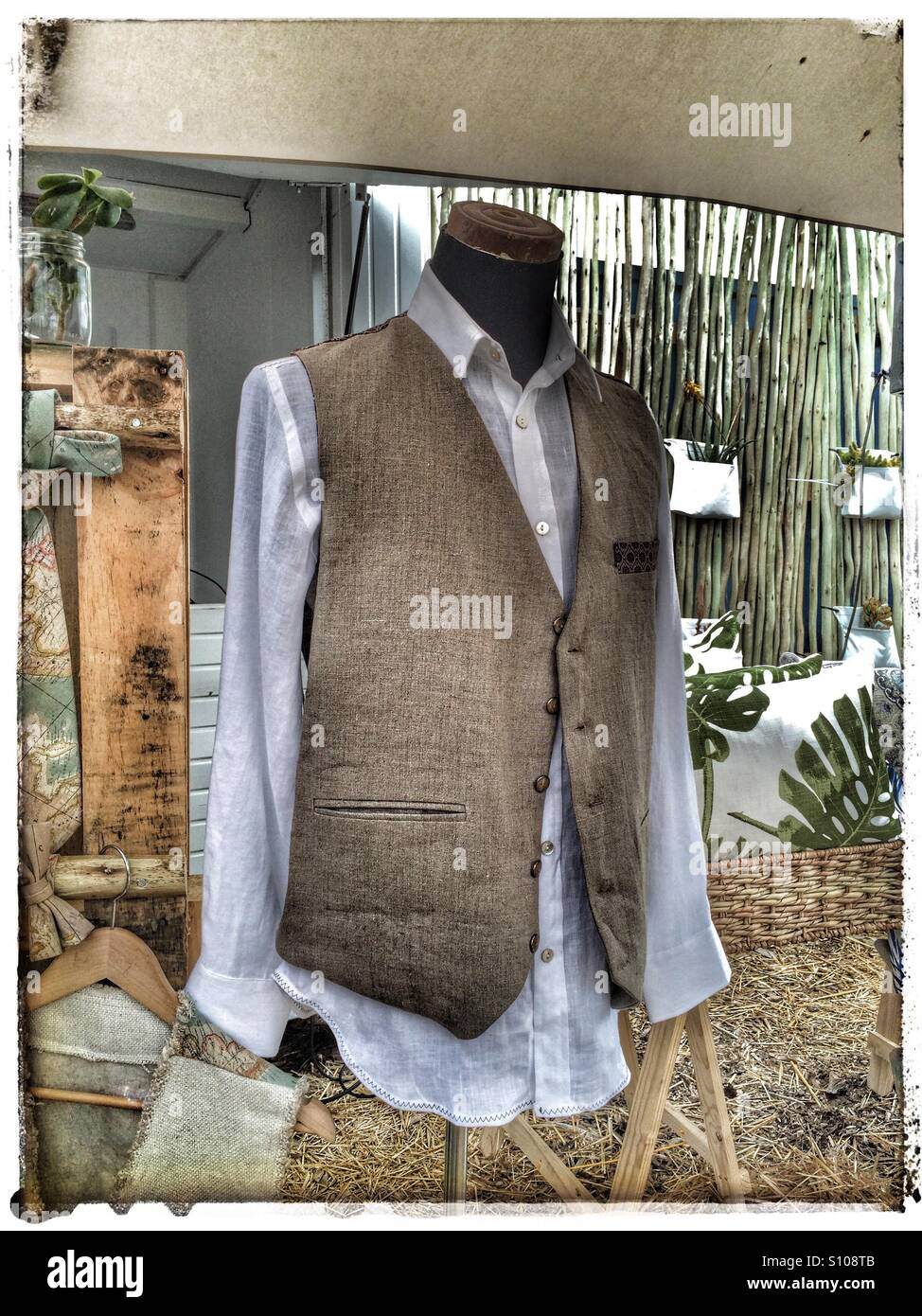 Waistcoat on mannequin at OXCF market in Cape Town. - Stock Image