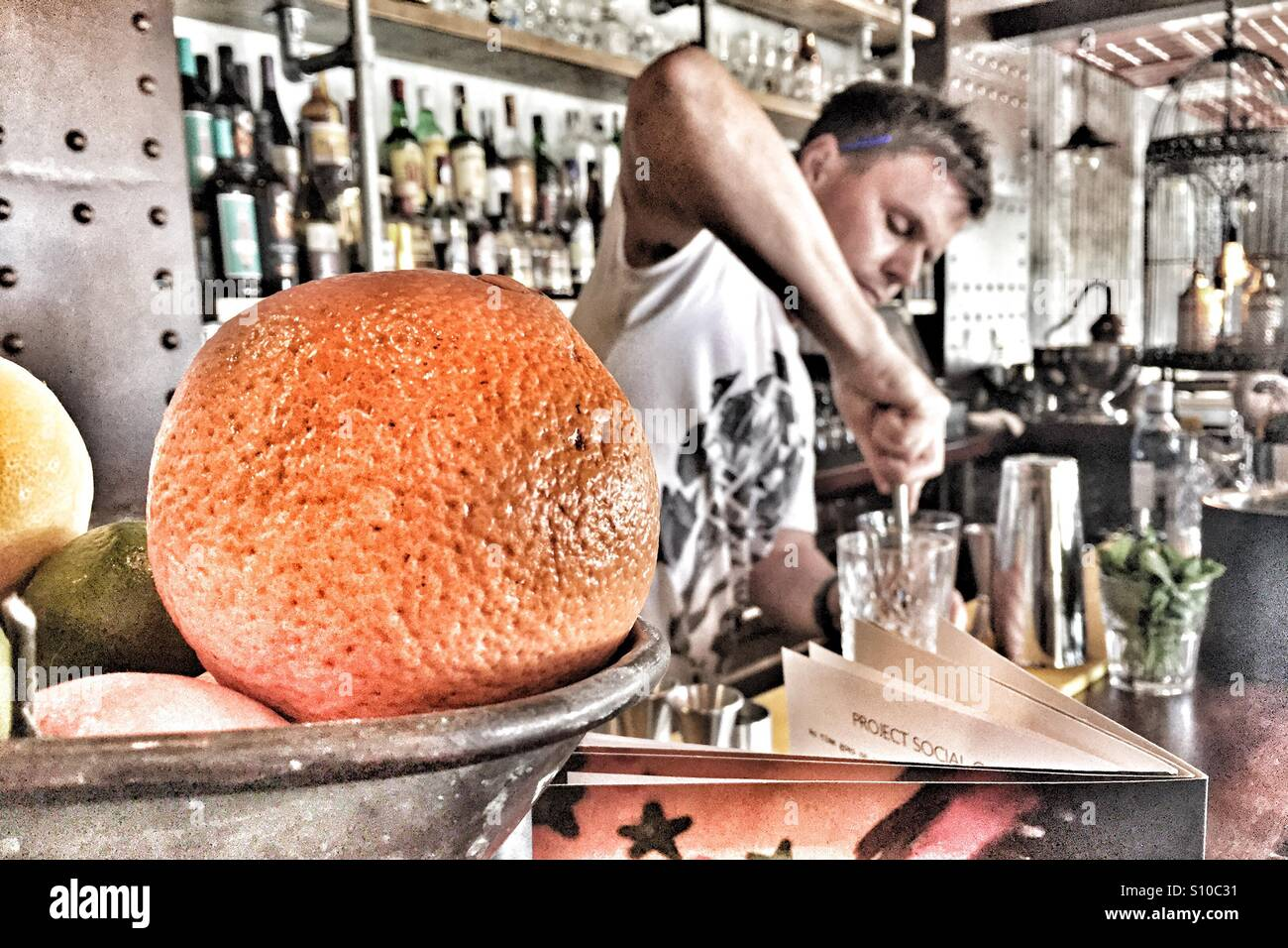Making cocktails - Stock Image