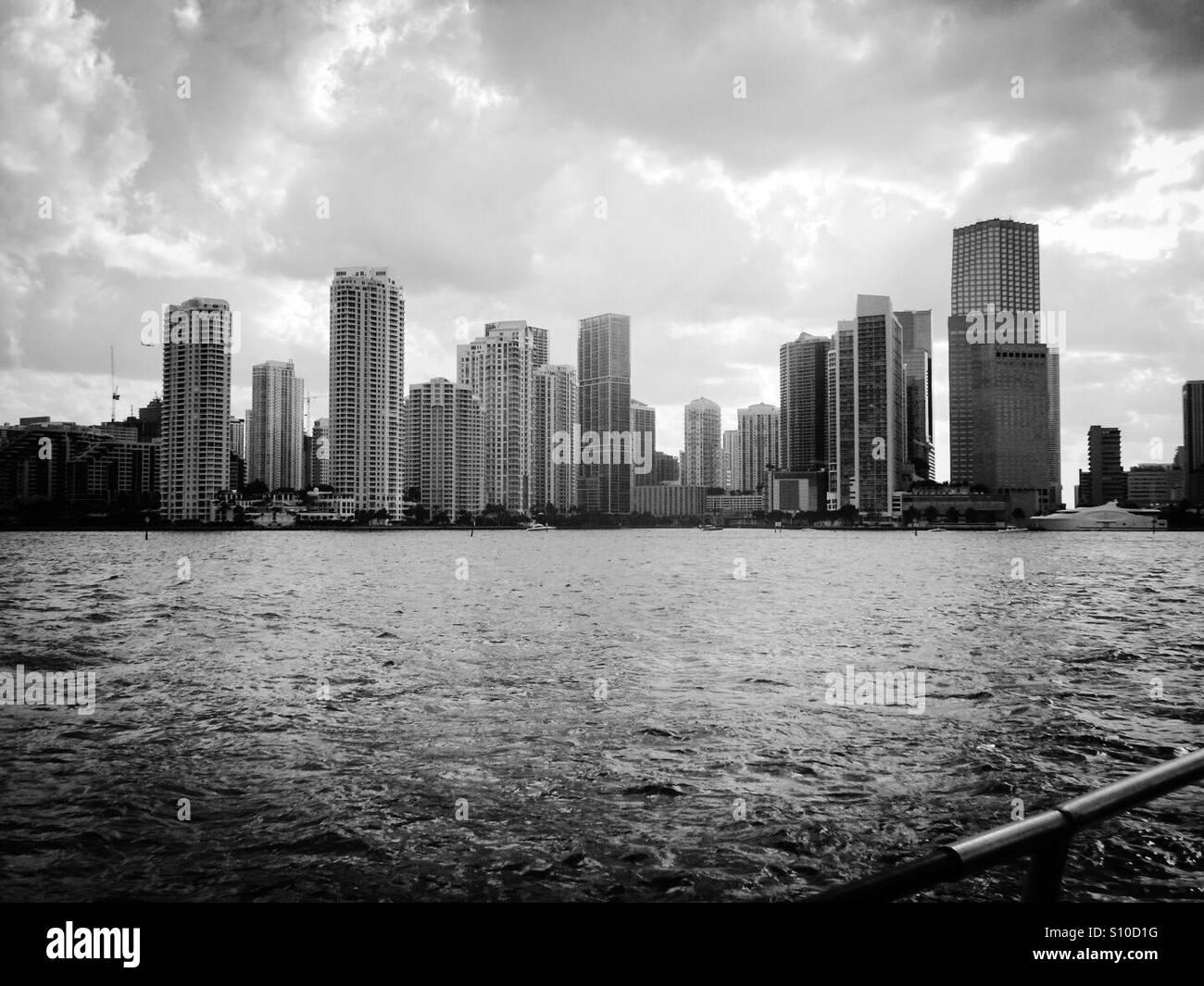 Skyscrapers in Miami bay - Stock Image