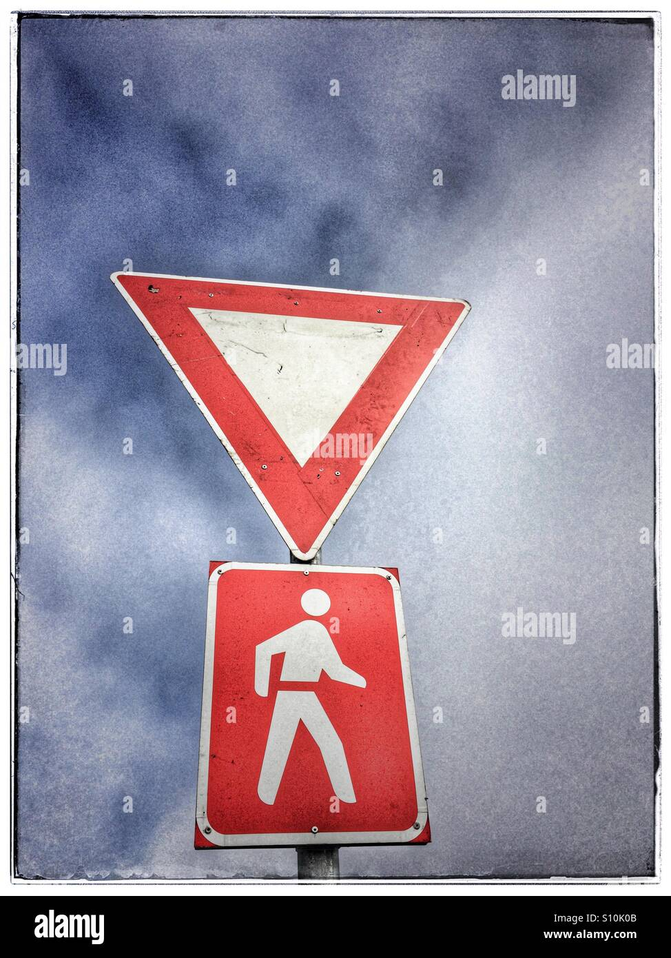 Yield sign. - Stock Image