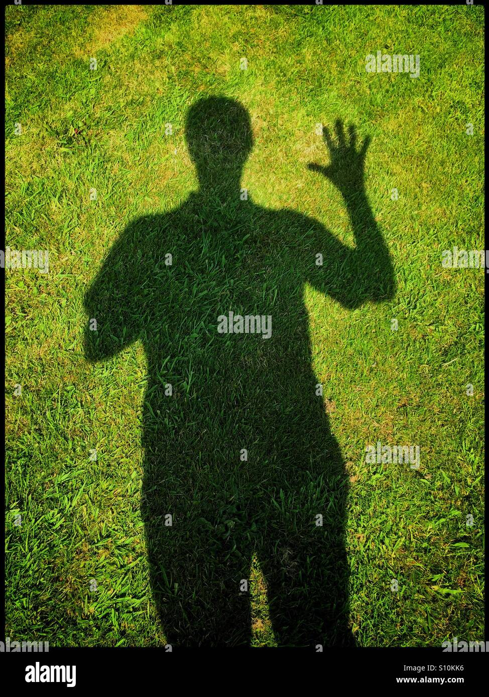 Shadow of a man with one arm raised and all fingers and thumb separated in a waving gesture. It's a sunny summers - Stock Image