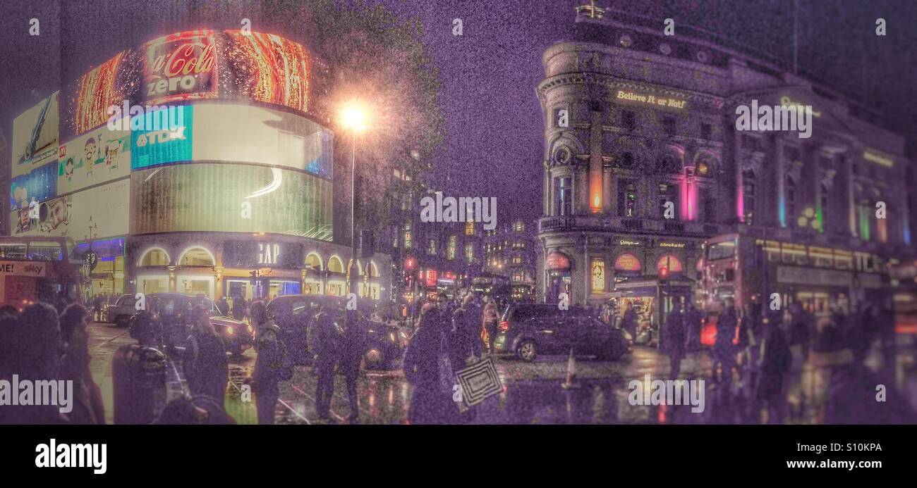 London Piccadilly Circus at night - Stock Image