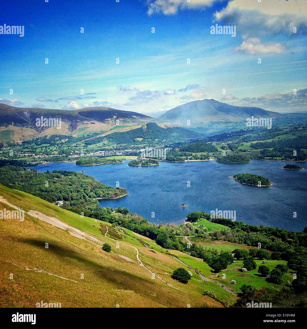 View of Derwentwater from the top of Catbells - Stock Image