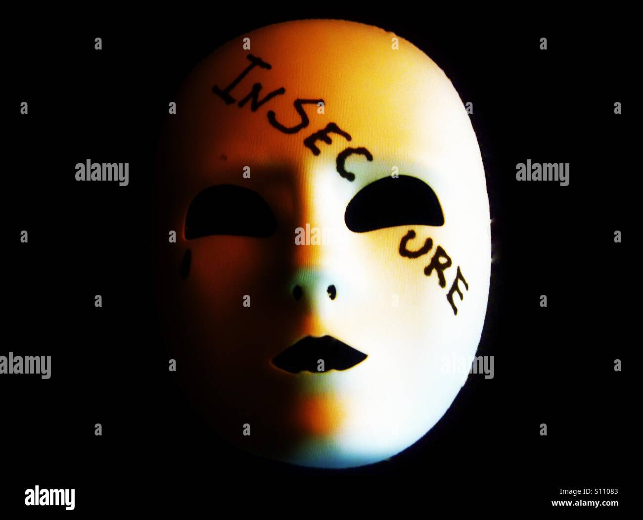 Insecure mask - Stock Image