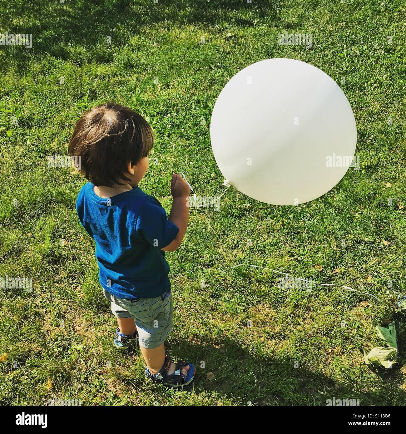 Big white balloon - Stock Image