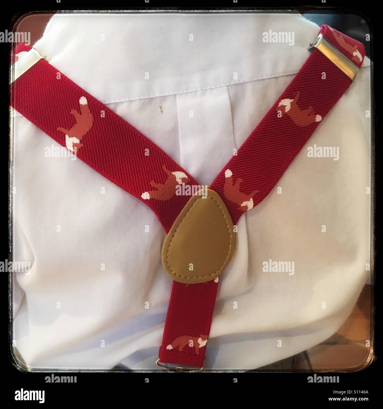 Little boy and red suspenders - Stock Image
