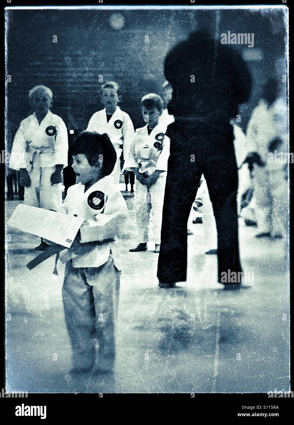 Young children at karate grading - Stock Image