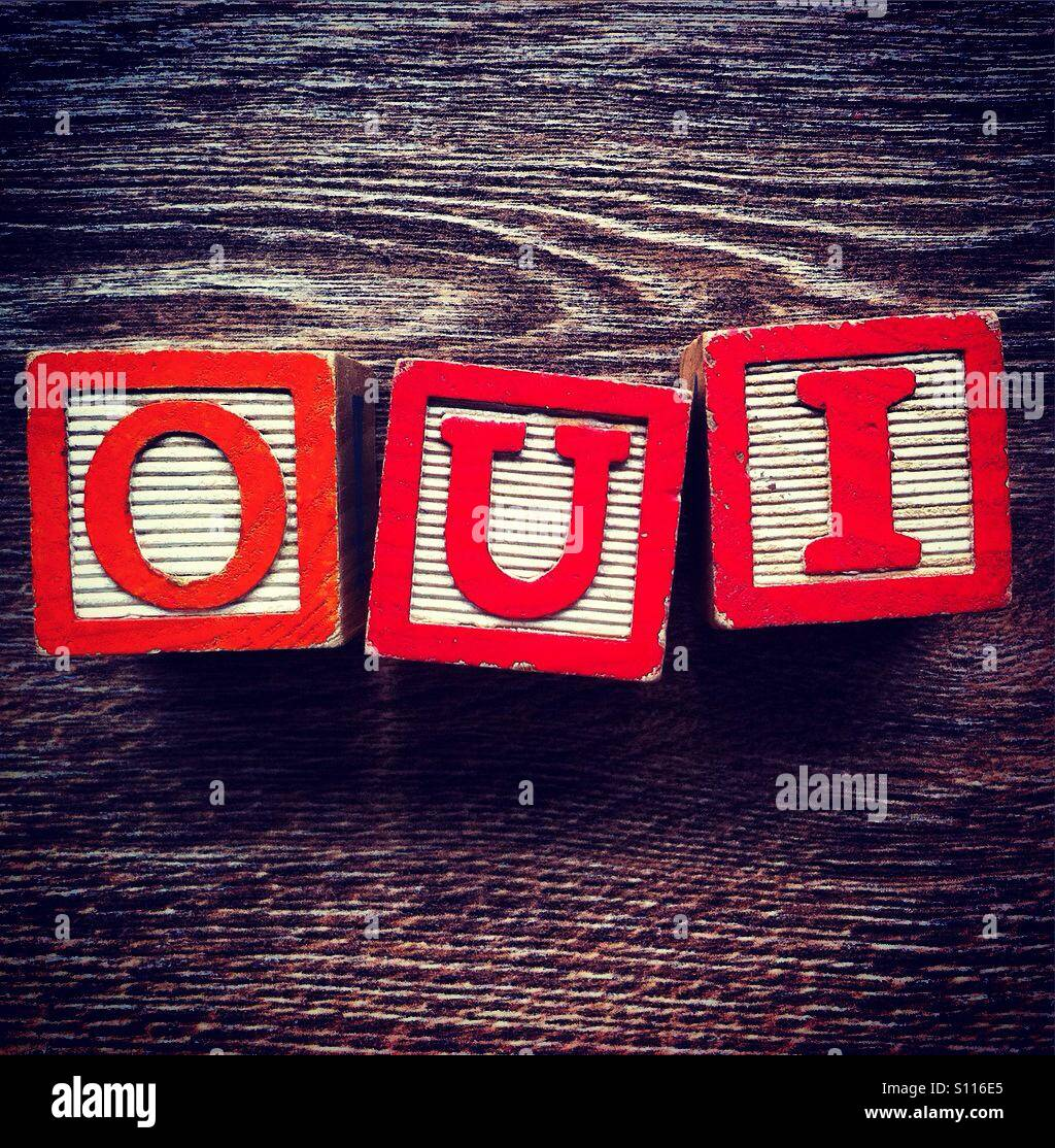 French Word Oui For Yes Done Woth Wood Blocks Alphabet Letters