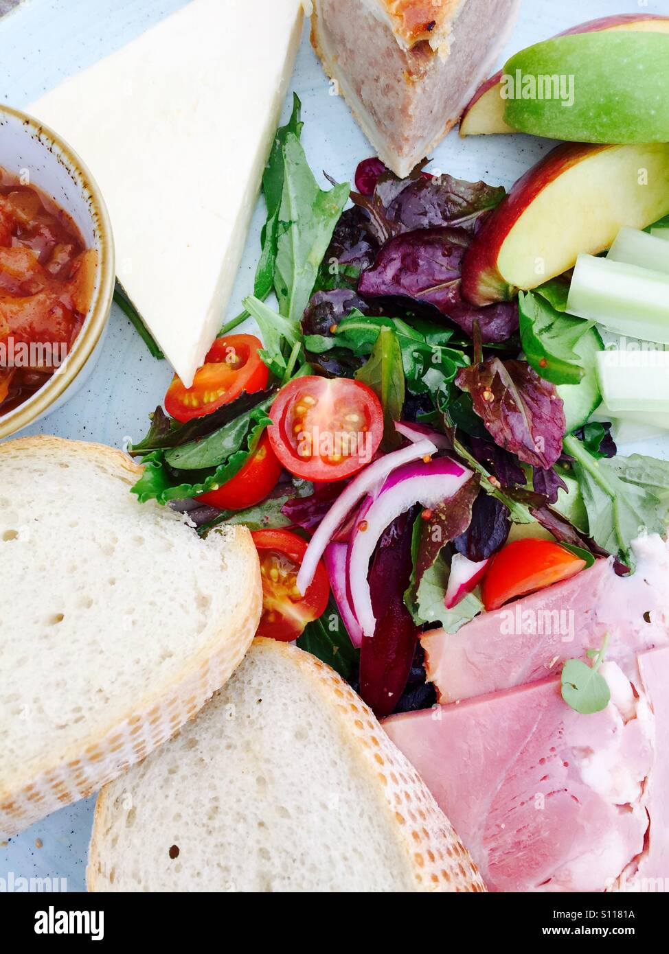 Colourful ploughman's salad - Stock Image