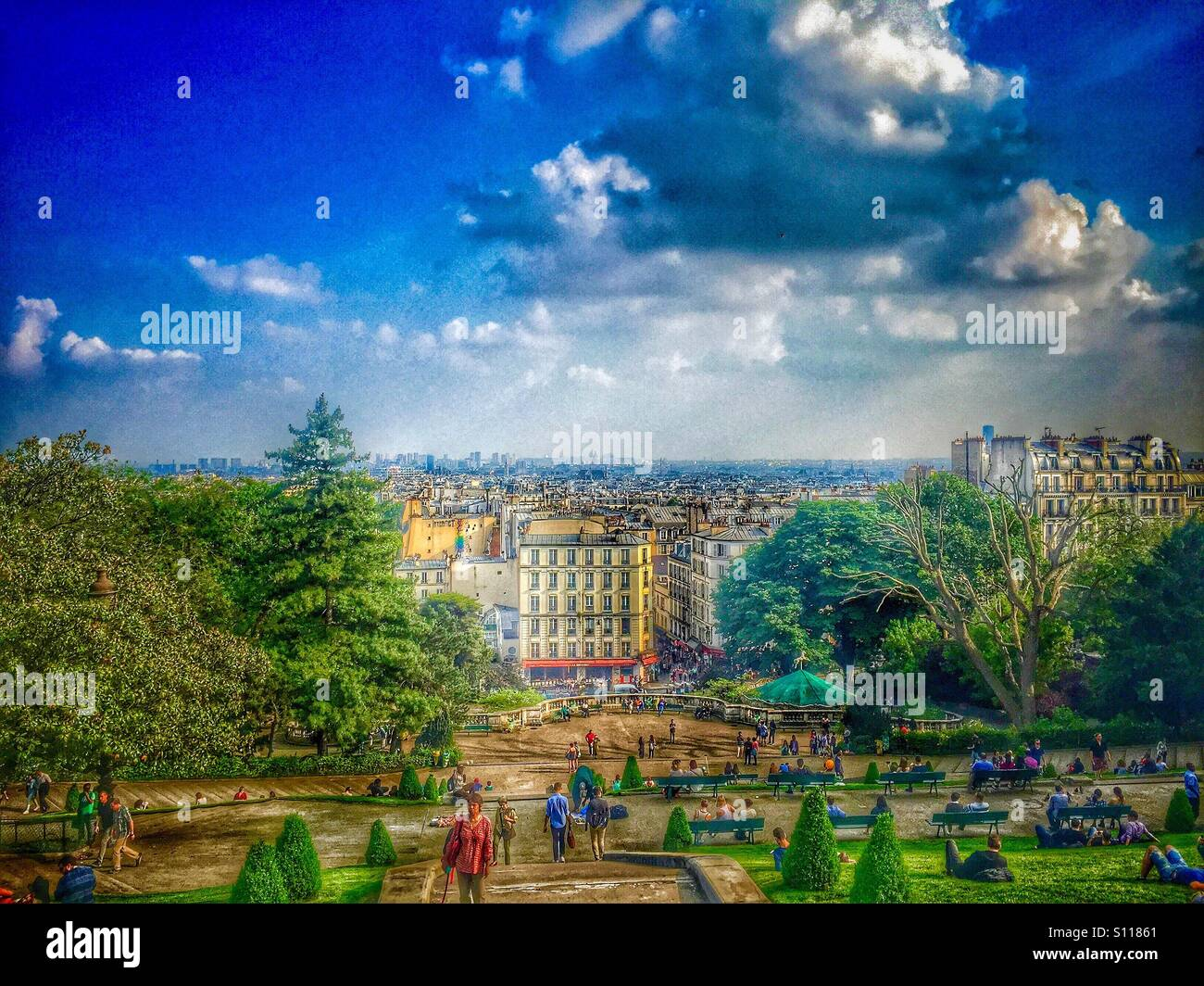 View from the top of Montmartre hill - Stock Image