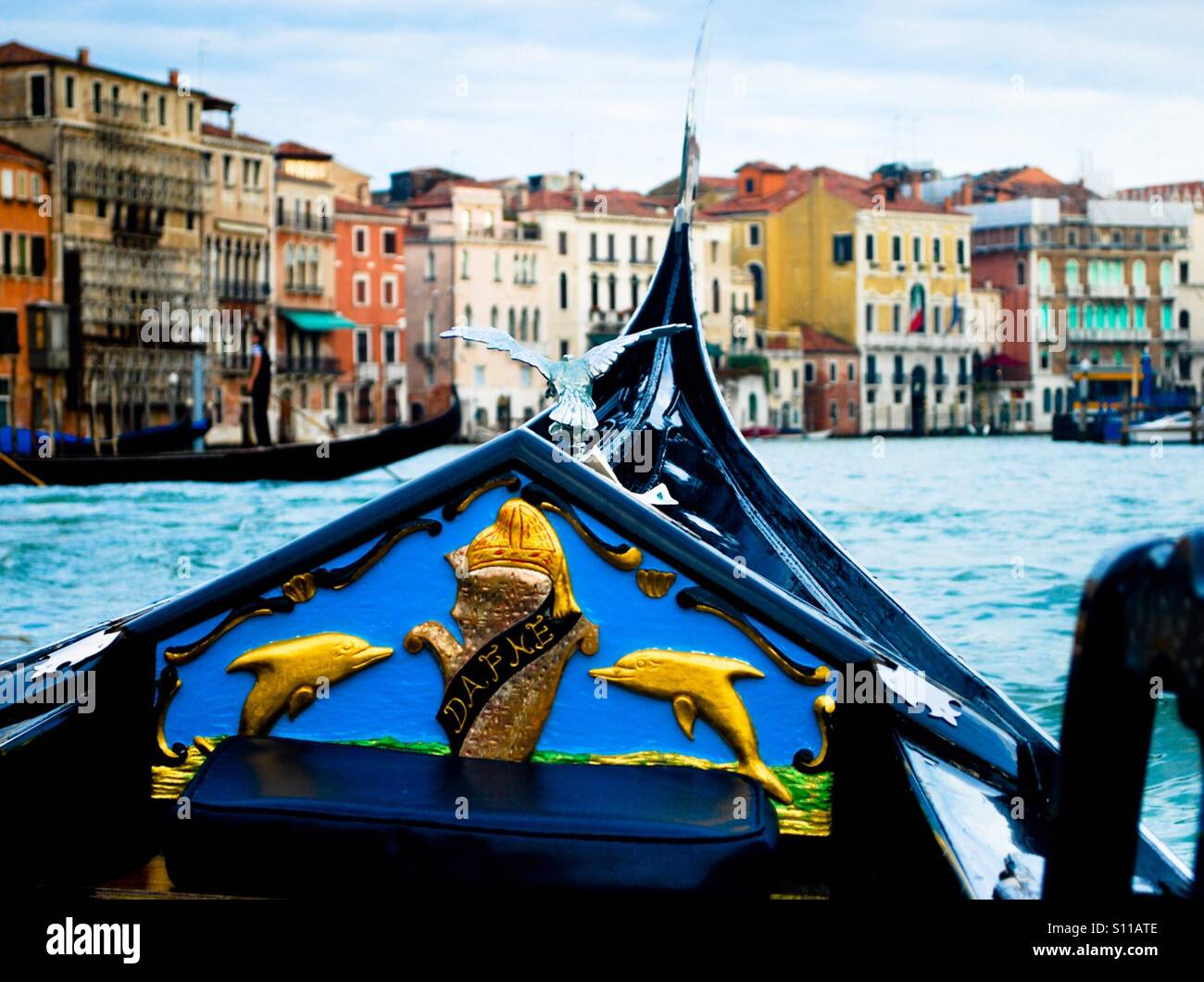 First person view of a gondola in Venice - Stock Image