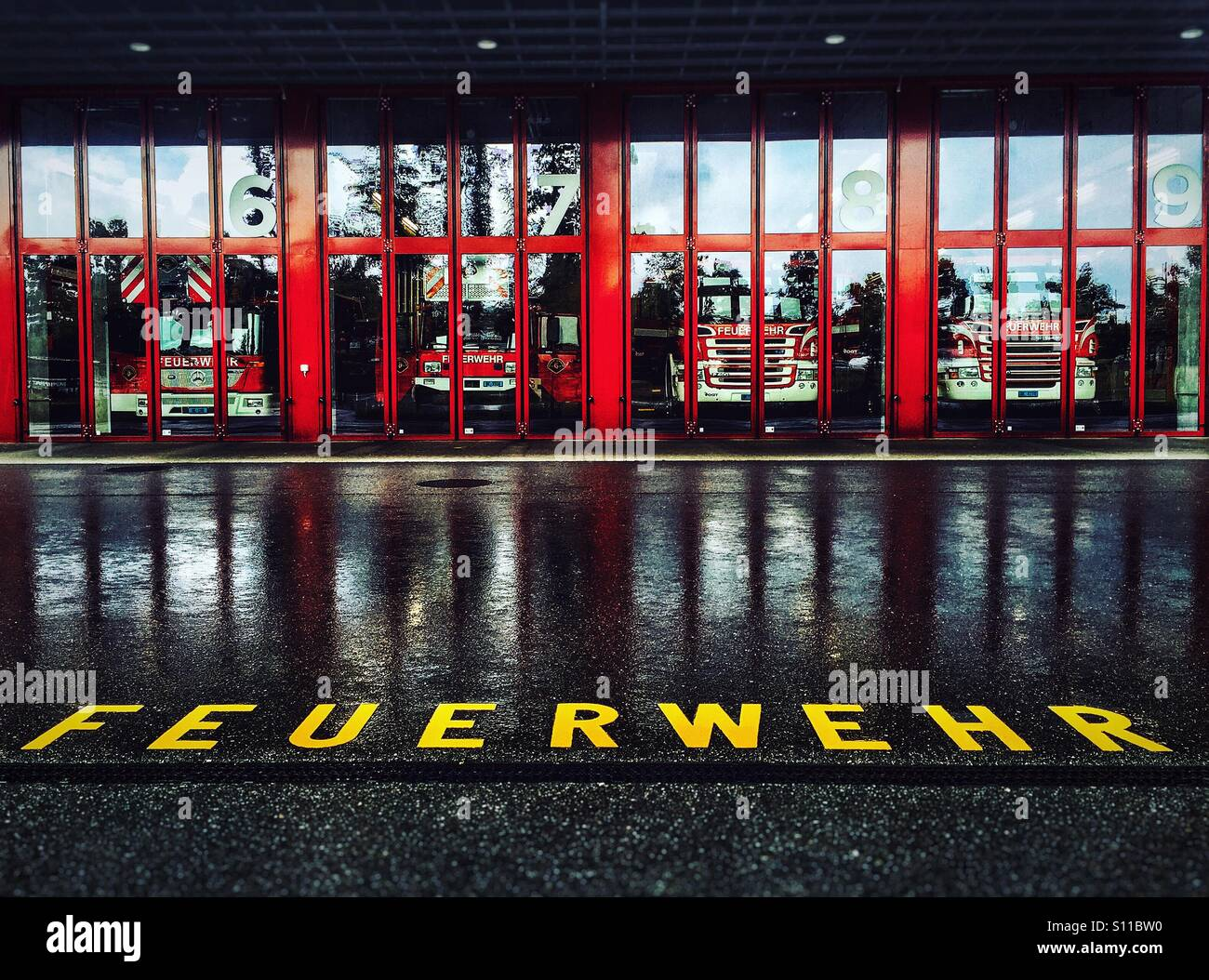 Feuerwehr- fire engines at Bern fire station - Stock Image