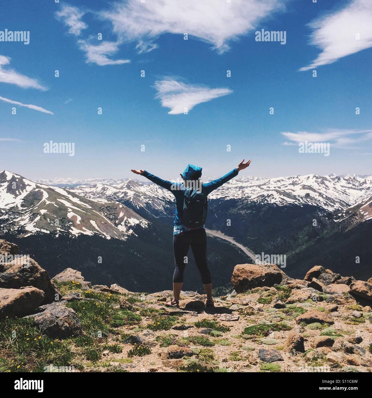 Mountaintop Hiker Stock Photo