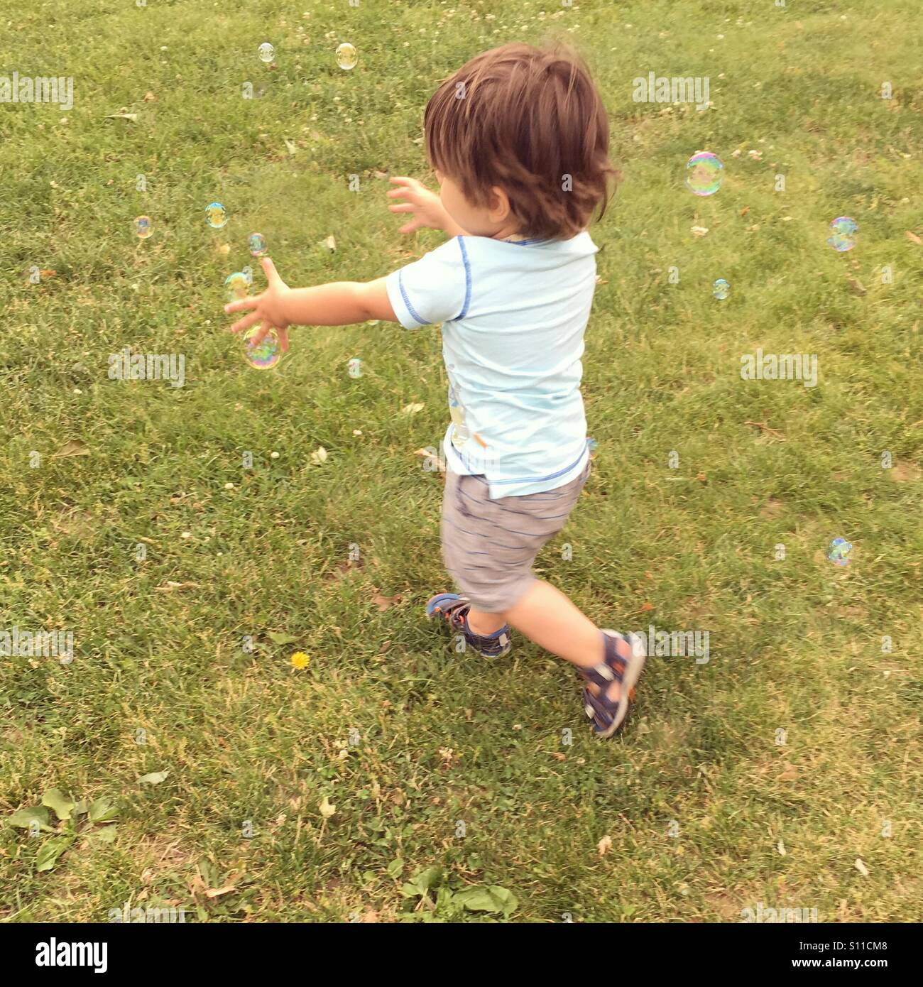 Chasing bubbles - Stock Image