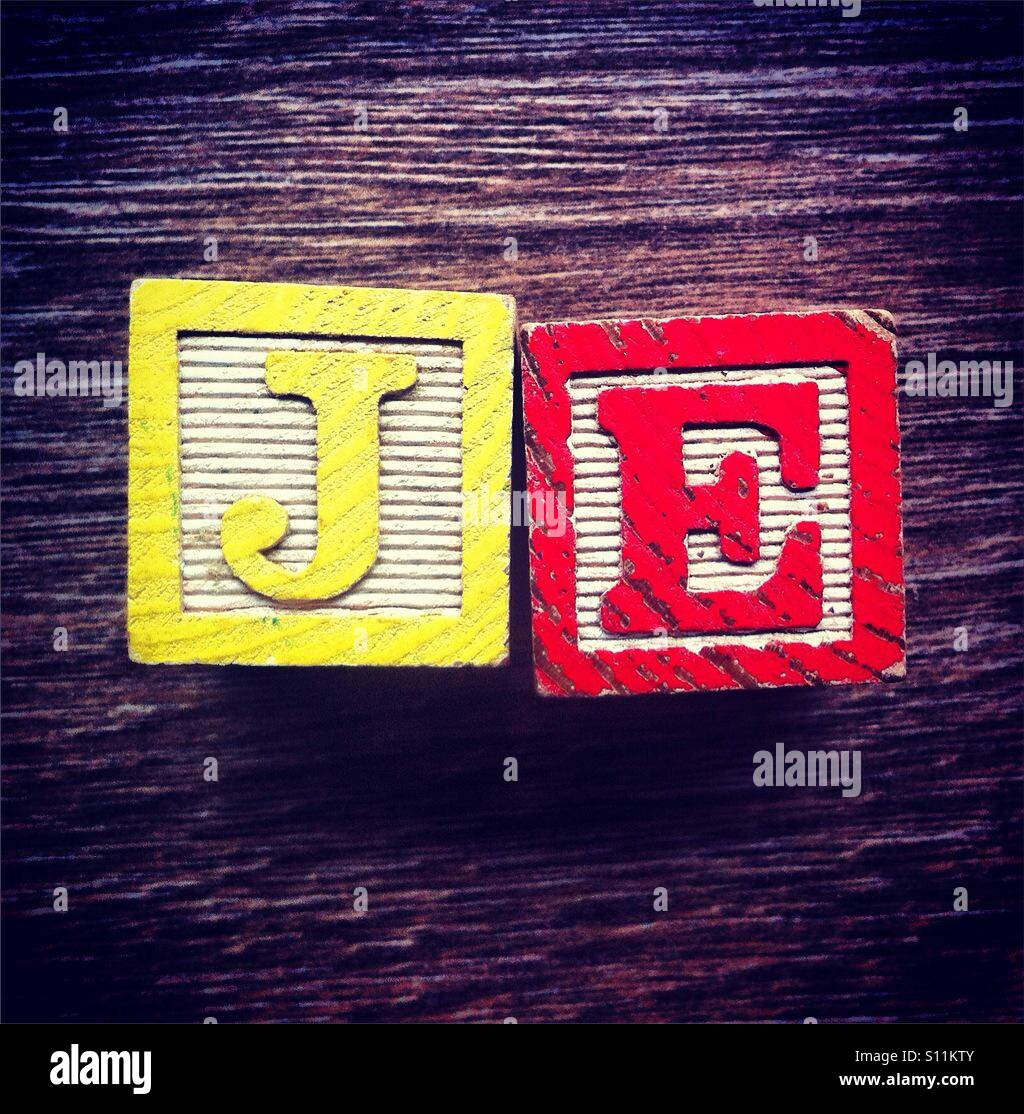 French Word Je Meaning I Or Me Done With Alphabet Wood Blocks Letters Stock Photo Alamy
