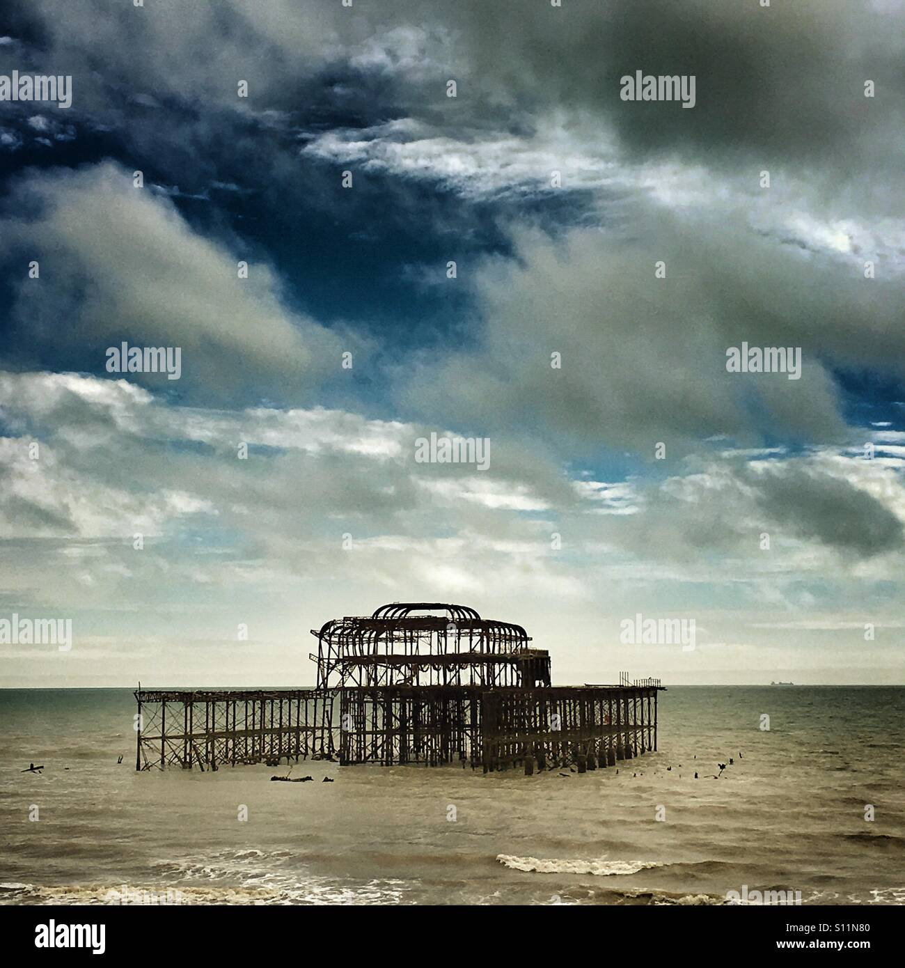 Derelict West Pier in Brighton - Stock Image