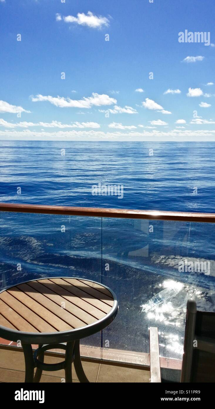 Cruise ship balcony room view, on a calm day in the middle of the Atlantic Ocean. - Stock Image