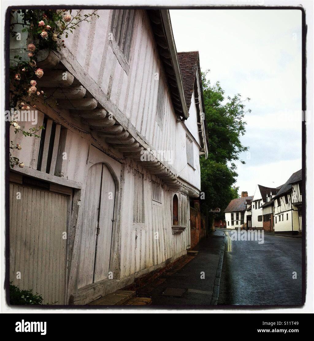 Wonderfully wonky Lavenham - Stock Image