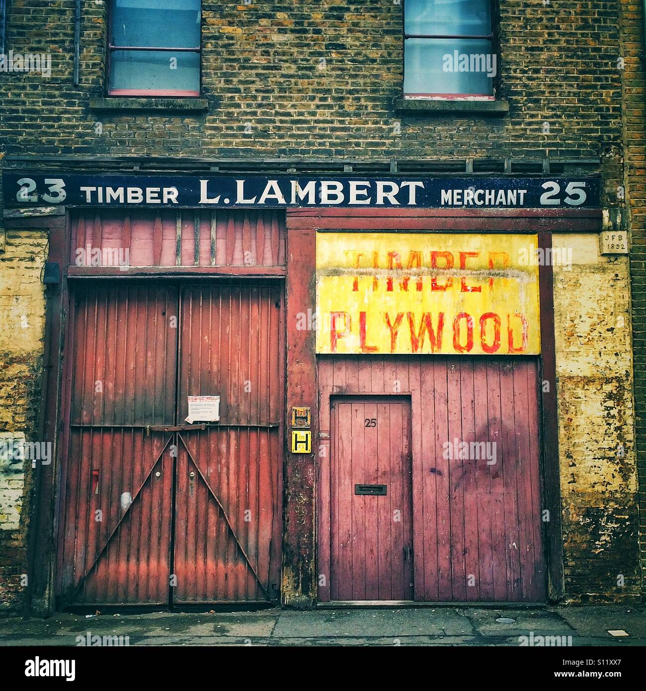 An old timber merchants in East London - Stock Image