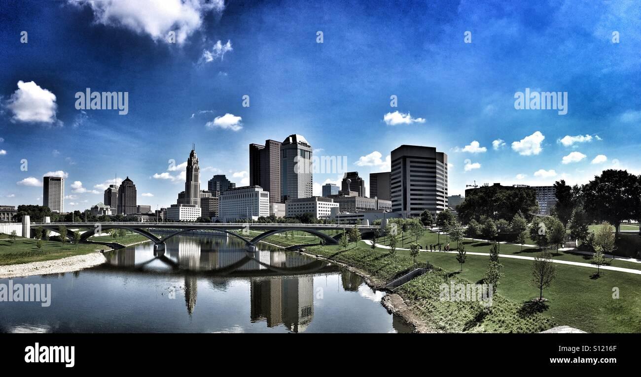 Scioto Mile Park and Columbus Ohio skyline Stock Photo