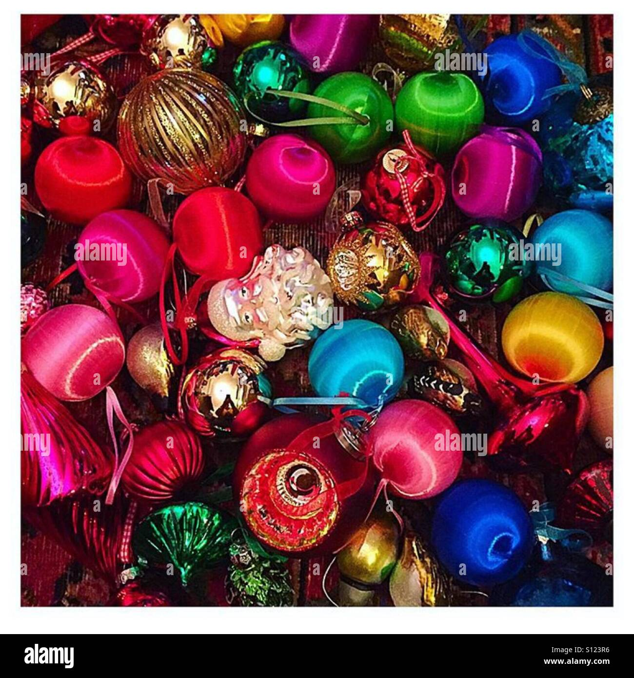 Vintage Christmas Tree Baubles Stock Photo Alamy