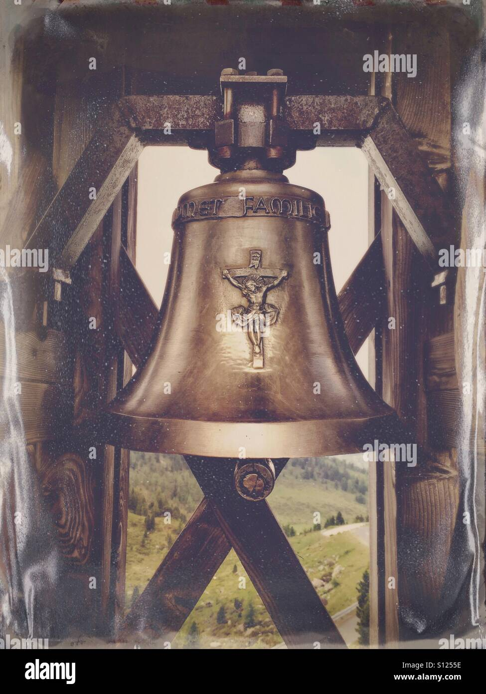 Close up of a wishing bell near Glockenhütte along the Nockalm Road (Nockalmstrasse), Austria - Stock Image