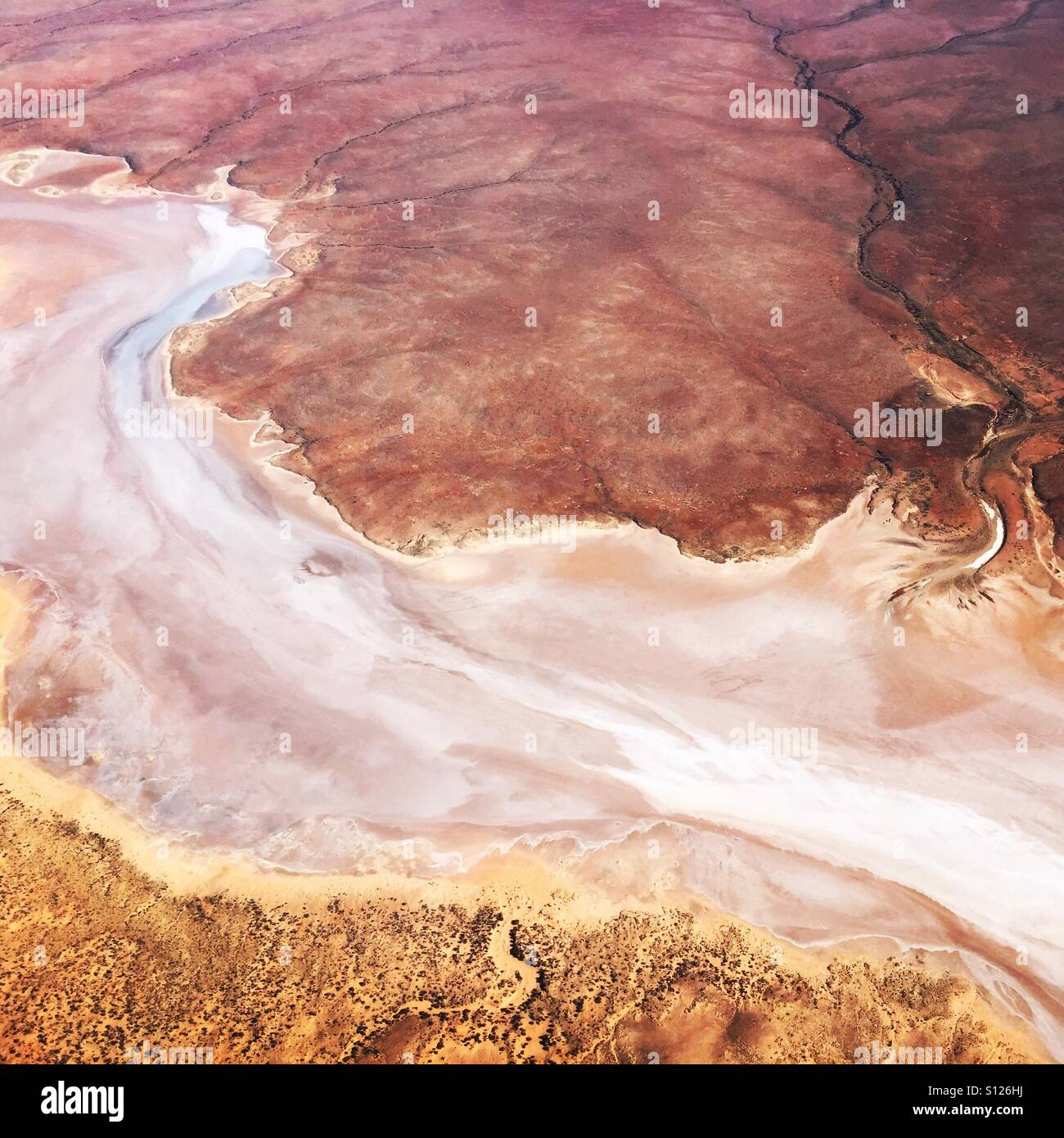 Flying over the South Australian outback - Stock Image