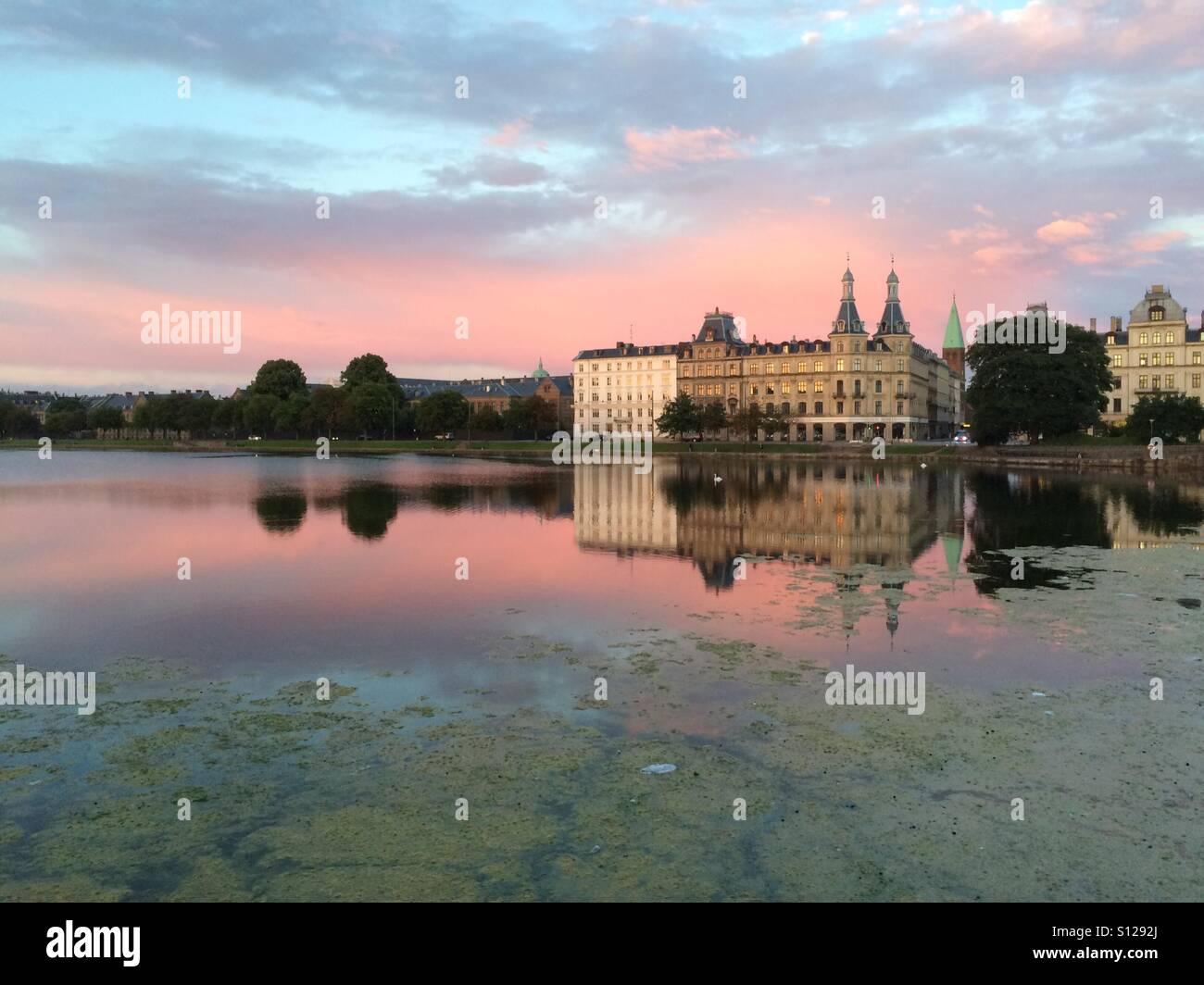 Sunset over Copenhagen's Sortedams Lake - Stock Image