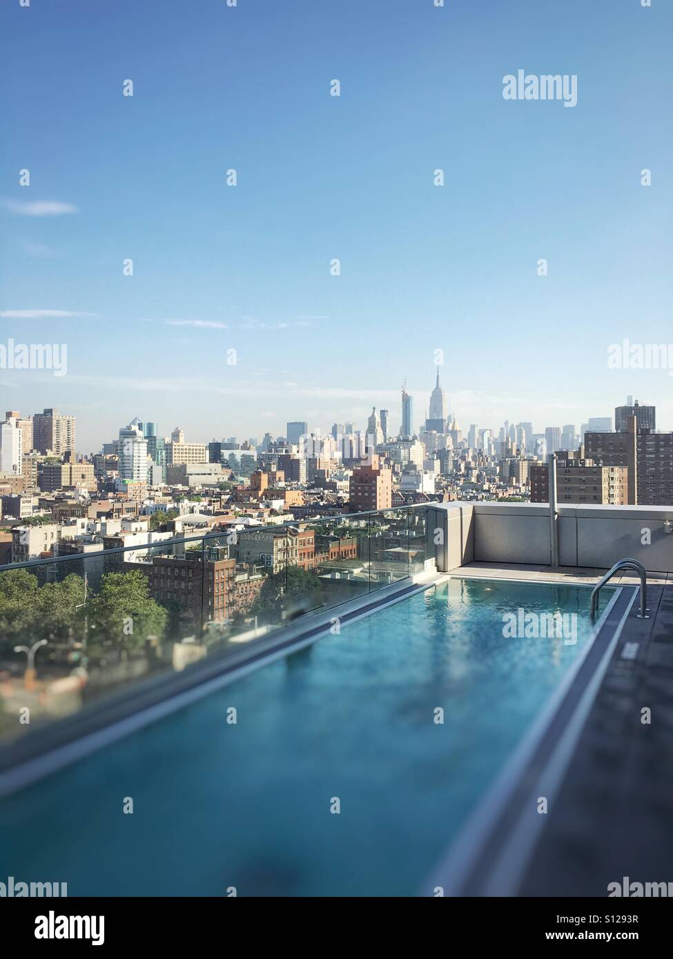 Roof top pool in Manhattan from East Village (Hotel Indigo), New York, NY Stock Photo