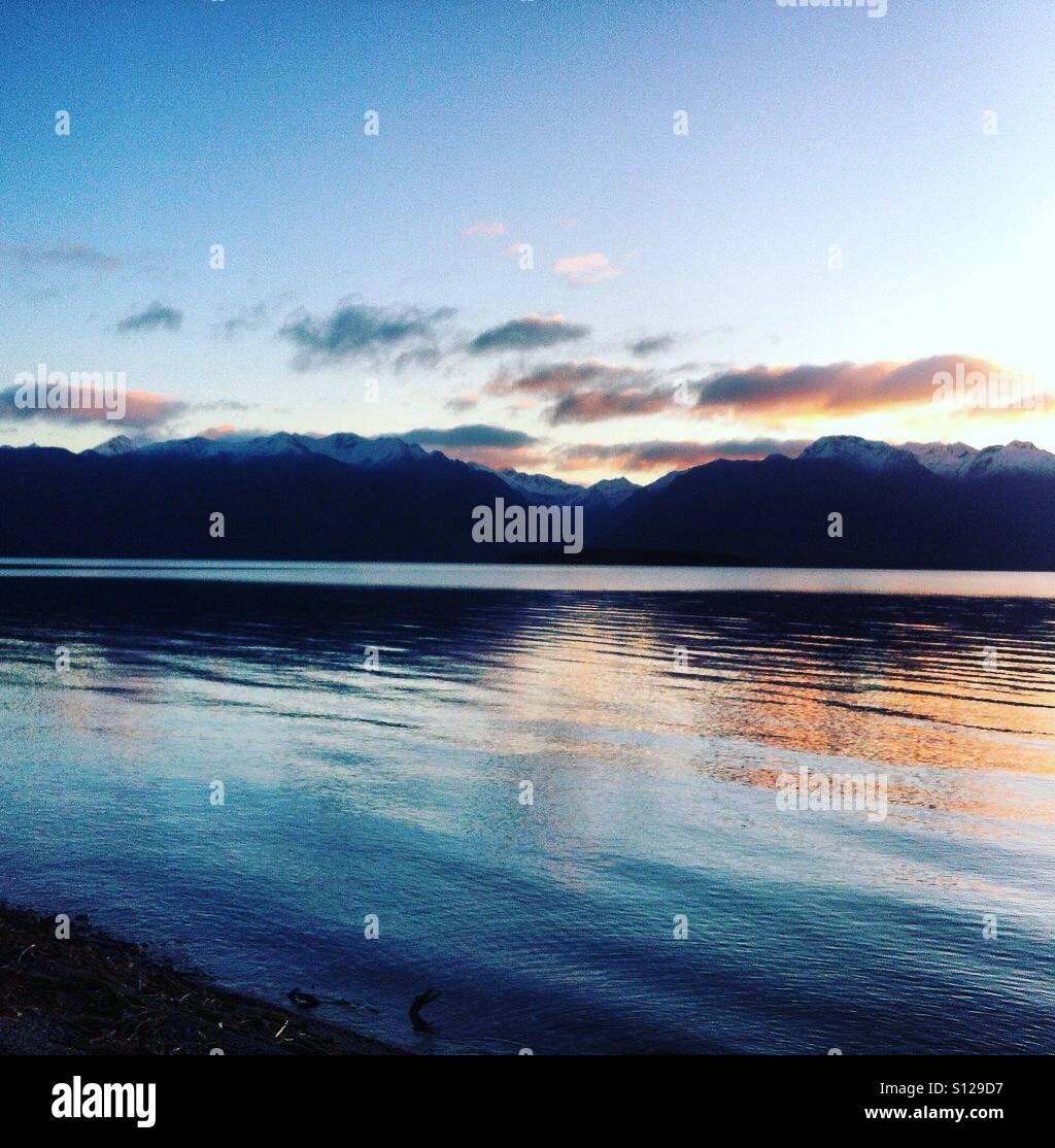 Sunset,montains, new Zélande, lake - Stock Image