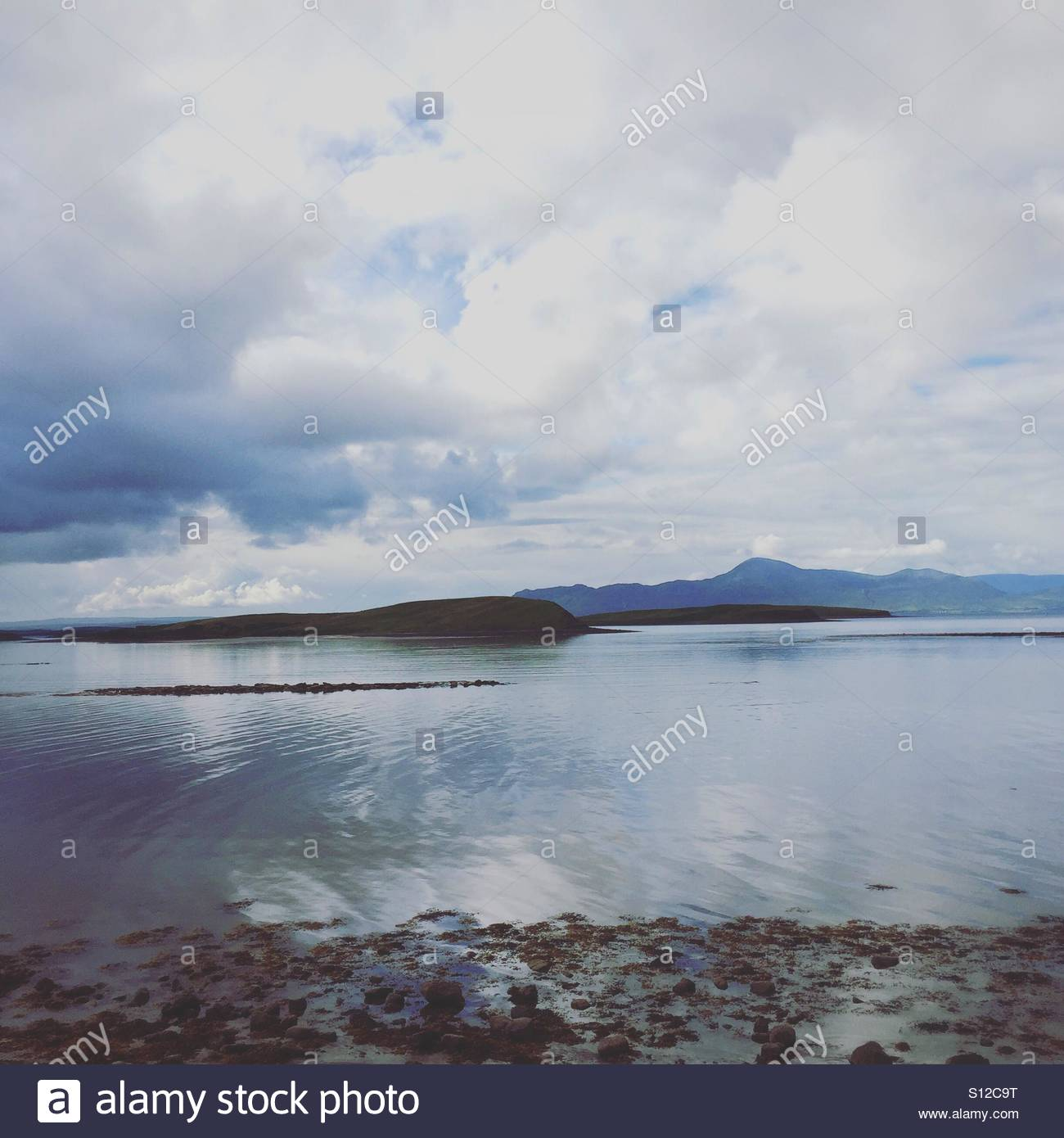 Looking out over Clew Bay County Mayo Ireland - Stock Image