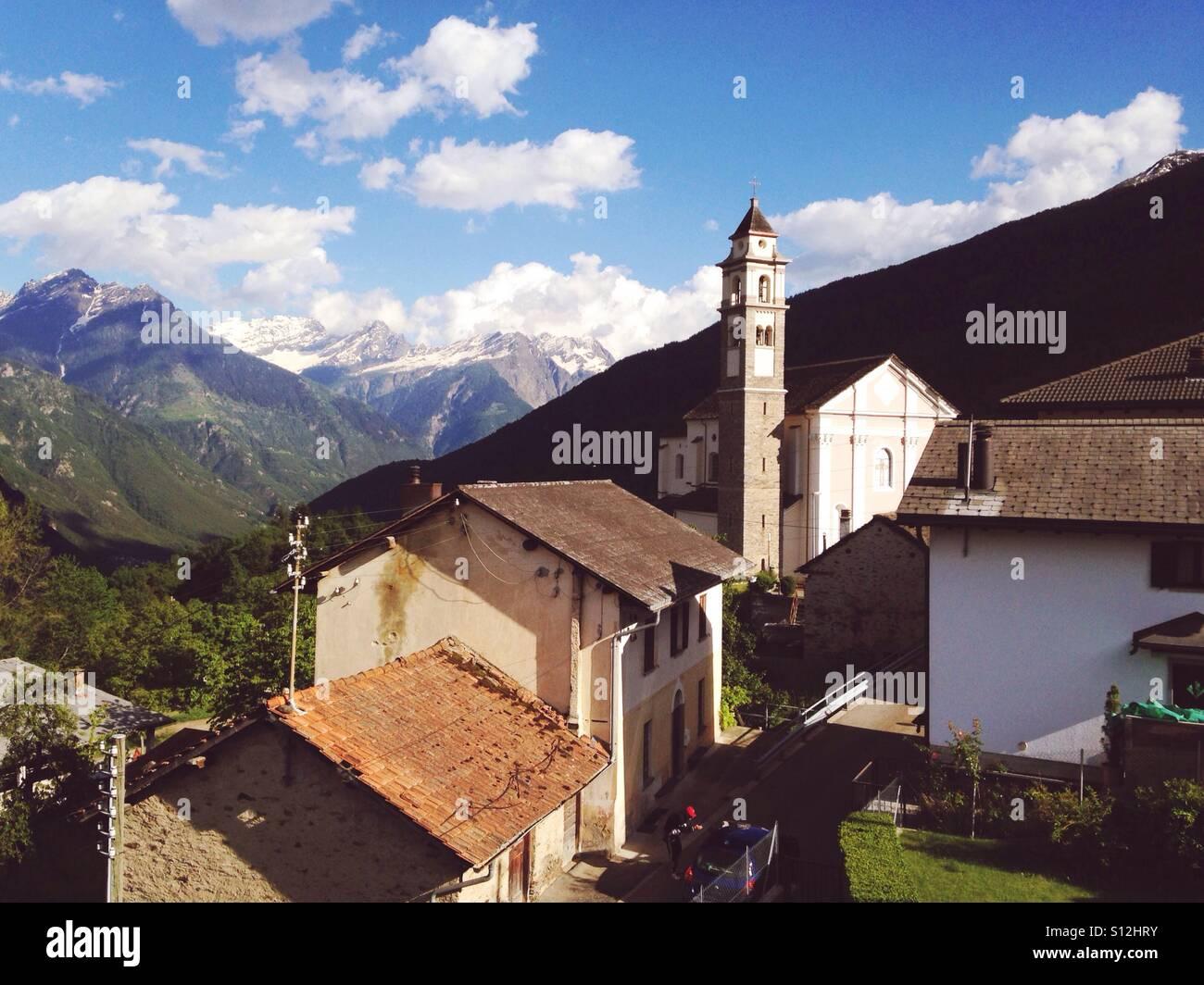 The small village of Leontica in canton Ticino, Switzerland. Stock Photo