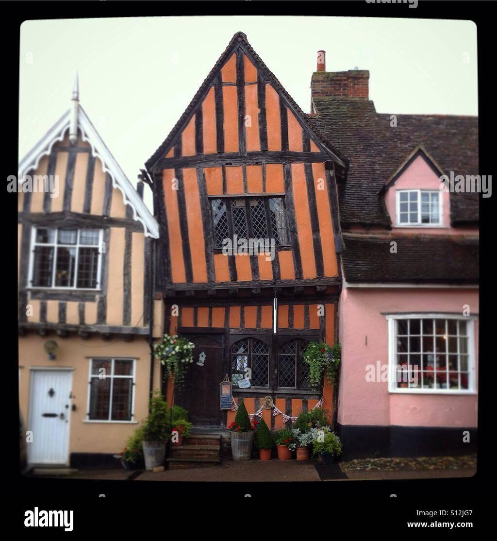 Wonky houses in Lavenham Stock Photo