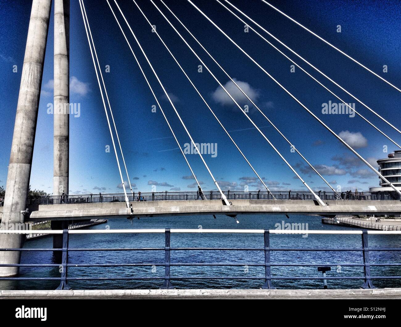Southport marine lake bridge - Stock Image