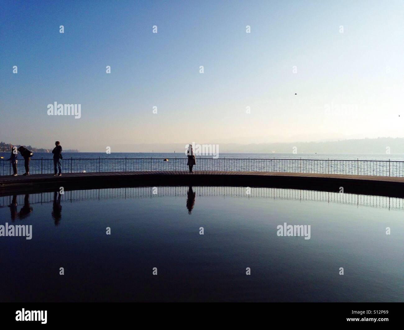 A swimming pool on lake Zurich, Switzerland. - Stock Image