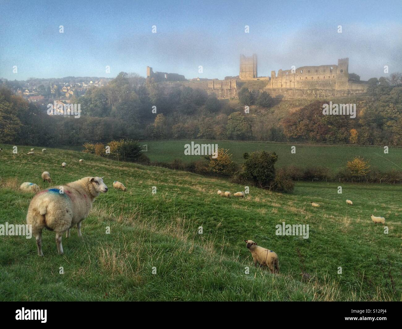 A foggy Richmond Castle in North Yorkshire, England. Stock Photo