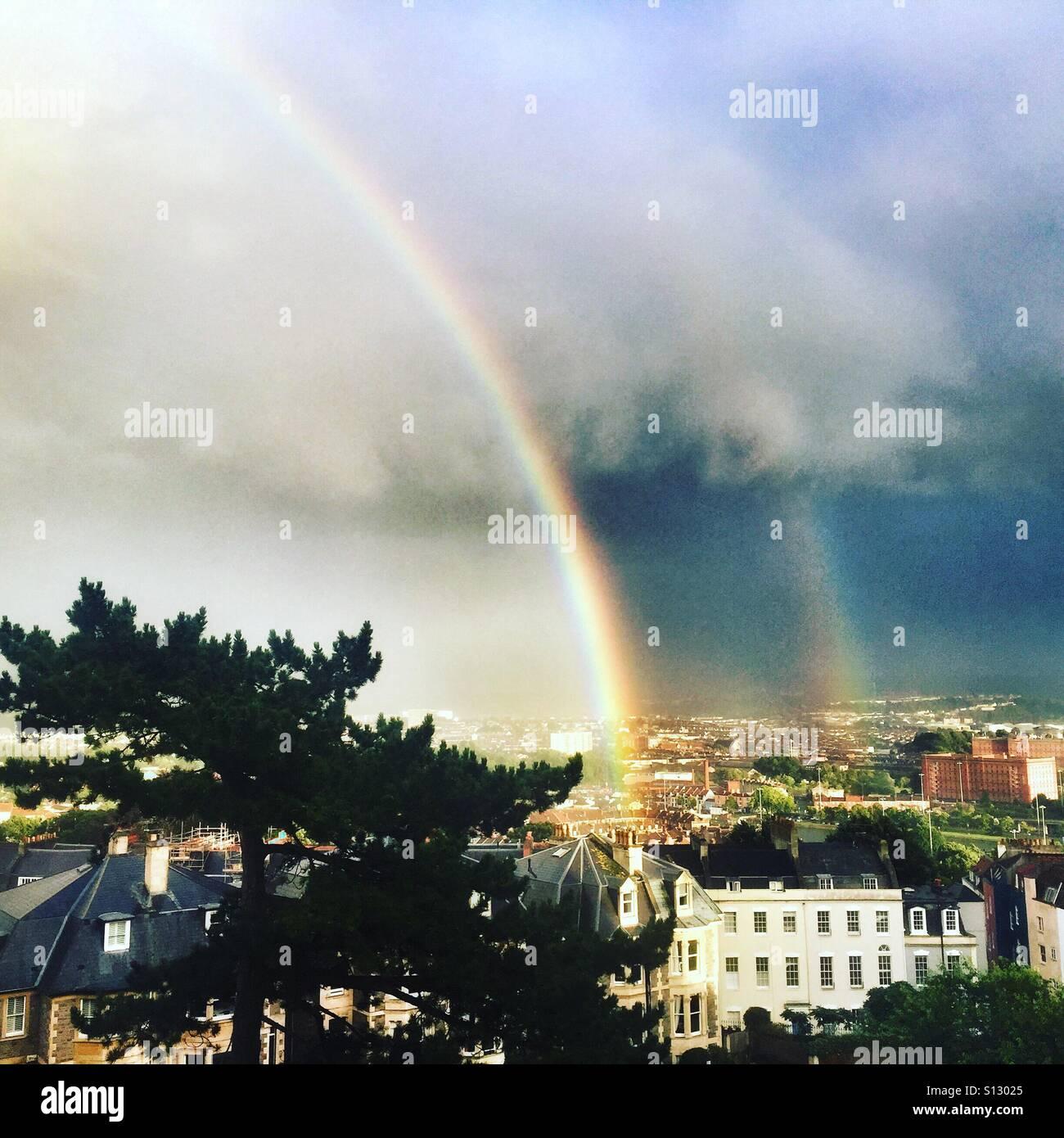 Rainbow over Clifton, Bristol Stock Photo