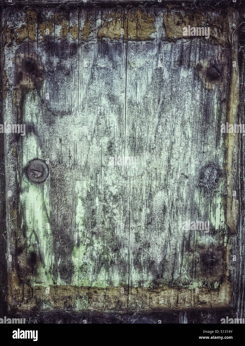 Grungy wood with retro filter muted tones - Stock Image