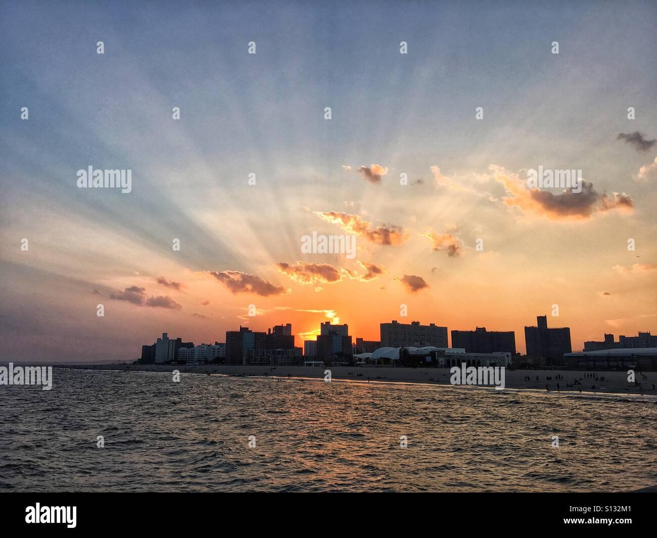 Coney Island Sunset - Stock Image
