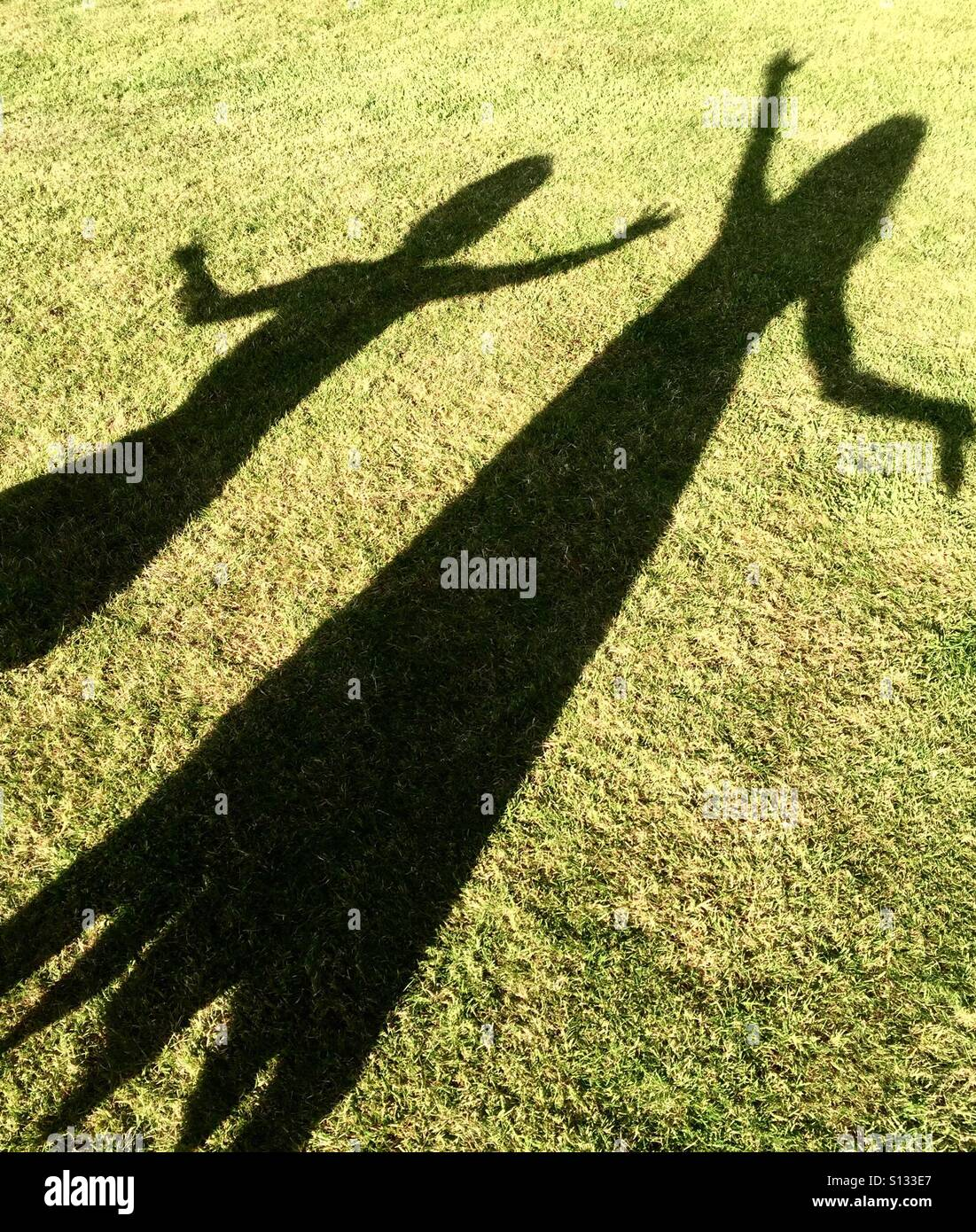 Girls shadows on the grass - Stock Image